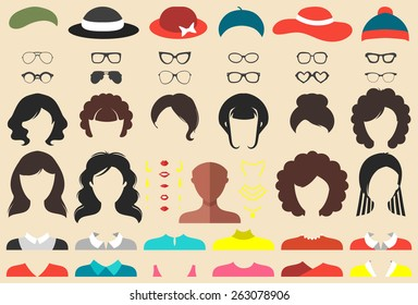Big vector set of dress up constructor with different African American woman haircuts, glasses, lips, wear, jewellery in trendy flat style. Female faces icon creator.