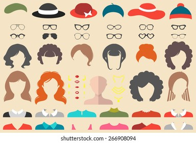 Big vector set of dress up constructor with different woman haircuts, glasses, lips, wear, jewellery in trendy flat style. Flemale faces icon creator.
