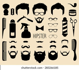 Big vector set of dress up with different men hipster haircuts, glasses, beard, mustache and  barber icons in trendy flat style. App man faces creator with hairdresser elements.