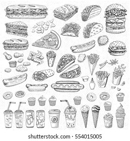 Big vector set, fast food. Sketch style. Fast food. Hamburger, taco, burrito, chicken, potato, fries, sandwich, coffee, lemonade, ice cream, hot dog, ketchup, mustard, soda, beer. Hand drawn elements.