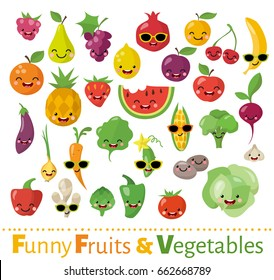 Big vector set of funny food icons in flat style. Smiling fruits and vegetables.