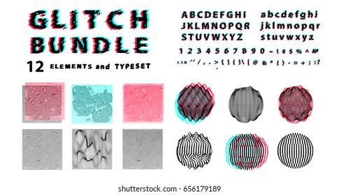 Big vector set of glitch art elements: font, textures and shapes.