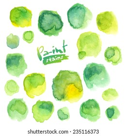 Big vector set of green watercolor stains