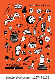 Big vector set with Halloween elements, including pumpkins, mushrooms, sweets, skulls, bats, poison, ghosts. Vector illustration. Good for cards, sticker sets, prints on fabric