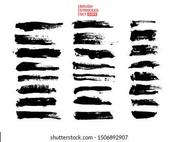 Big vector set hand drawn illustration. Ink brush strokes texture, grunge collection for text, template for backgrounds, card design, boxes, frames, banners.