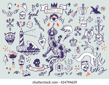Big vector set of hand drawn old school tattoo. Cartoon elements.
