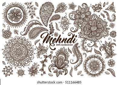 Big vector set of hand drawn mehndi elements. Collection of oriental indian traditional mehendi henna tattoo design. Paisley doodle. Boho ornament. Yoga. Mandala. Stylized flowers, florals, plants.
