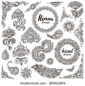 Big vector set of henna floral elements and frames based on traditional Asian ornaments. Paisley Mehndi Tattoo Doodles collection