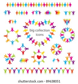 Big vector set of icons - people, team, friendship and love.