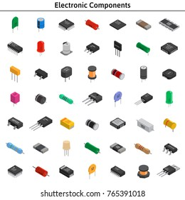 Big vector set of izometric electronic components. Collection of capacitors, resistors, diodes, transistors, inductors, microchips.
