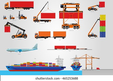 The big vector set of logistic. Machinery for transportation of loads.