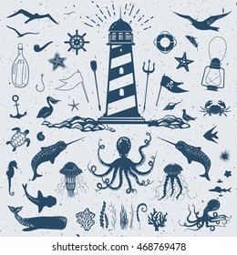 big vector set with marine creatures and nautical objects: seagulls,sharks, fish, octopus, crab, starfish, jellyfish, and other hand drawn animals and water plants