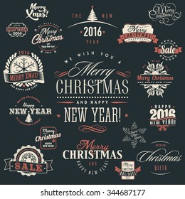 Big vector set of merry christmas and happy new year text labels, badges, frames, ribbons and design elements for xmas holiday sales and greeting cards on dark background