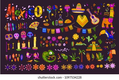 Big vector set of mexico elements, symbols & animals in flat hand drawn style isolated on dark background. Icons for fiesta, celebrations,  national patterns & decorations, traditional food, colors.