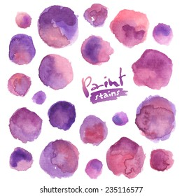 Big vector set of purple watercolor stains