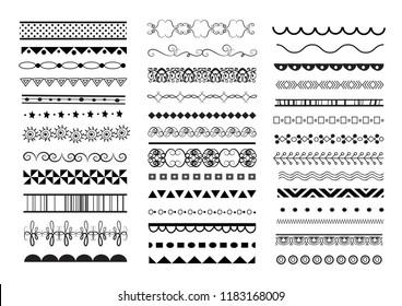 big vector set of seamless decorative borders. text dividers set