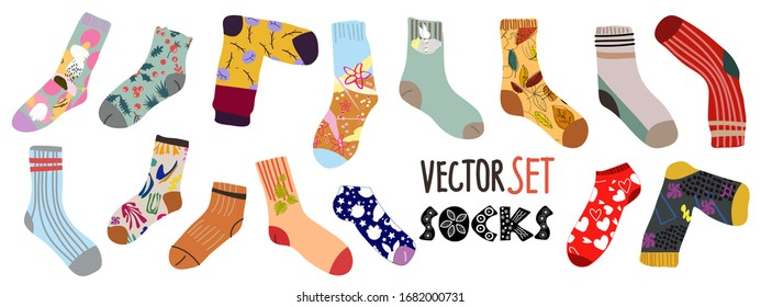 Big vector set. Stylish cotton and woolen socks with different textures.  Flat cartoon vector illustration. Transparent background