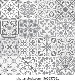 Big vector set of tiles background in grey. For wallpaper, backgrounds, decoration for your design, ceramic, page fill and more.
