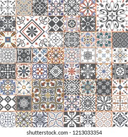 Big vector set of tiles in portuguese spanish, italian style. For wallpaper, backgrounds, decoration for your design, ceramic, page fill and more.