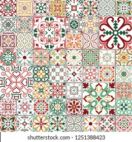 Big vector set of tiles in portuguese, spanish, italian style. For wallpaper, backgrounds, decoration for your design, ceramic, page fill and more.