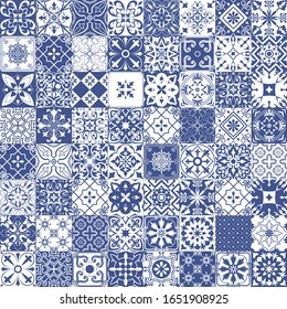 Big vector set of tiles in portuguese, spanish, italian style in blue. Mosaic pattern for ceramic in dutch, portuguese, spanish, italian style.
