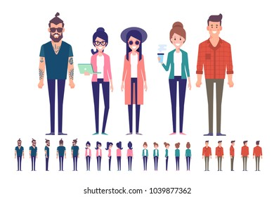 Big Vector set of young male and female people. Front, side, back, 3/4 view animated characters. Modern Urban citizen characters. Flat vector illustration isolated on white background.