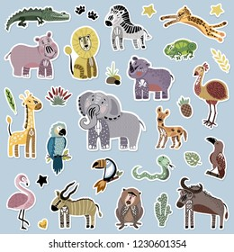Big vector sticker pack - set with cute African animals, hand drawing plus flat style mixed