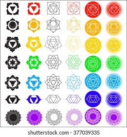 Big vector symbol set of chakras.Color yoga chakra icons isolated on white. Solid character illustration of Hinduism and Buddhism. For design, associated with yoga and India.