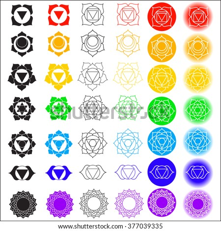 Big Vector Symbol Set Chakras Color Yoga Stock Vector Royalty Free