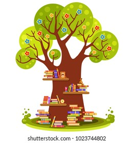 Big vector tree with flowers and brown wooden shelves with many colorful books, teddy bear, clock and a photo frame in cartoon style. Home library. Love reading. Education for kids