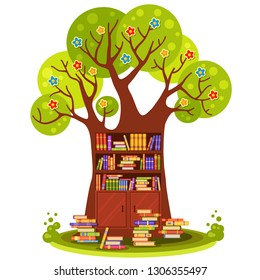Big vector tree with flowers and brown wooden shelves with many colorful books in a cartoon style. Home library. Love reading. Education for kids. Fairy tale cabinet