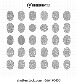 Big Vector Ultra Thin Fingerprint Icons Collection, Sci-Fi Future Identification Authorization System
