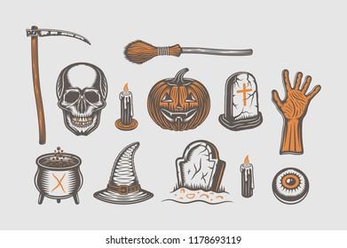 Big vintage halloween set of broom, skull, pumpkin, hand, graves, scythe, with's hat, cauldron, candle, eye in retro style. Monochrome Graphic Art Illustration. Vector