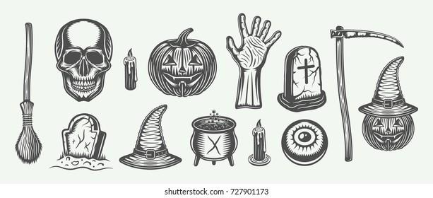 Big vintage halloween set of broom, skull, pumpkin, hand, graves, scythe, with's hat, cauldron, candle, eye in retro style. Monochrome Graphic Art. Vector Illustration.