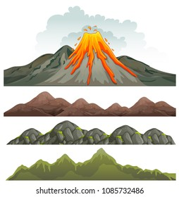 Big Volcano and Rocky Landscape illustration