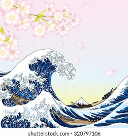big wave and cherry blossoms