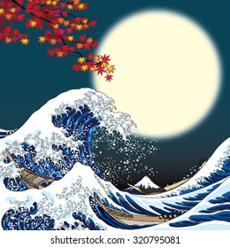 big wave and full moon
