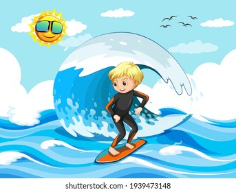 Big wave in the ocean scene with boy standing on a surf board illustration