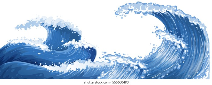 Big waves in the ocean illustration