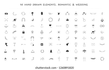 Big wedding and romantic logo elements set. Vector hand drawn objects, feminine clipart. For business branding and identity, greeting cards, overlays. Black on white isolated symbols.