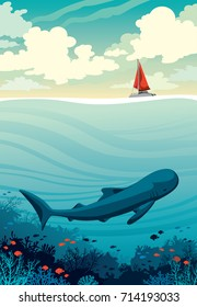 Big whale with fishes and coral reef in a deep sea under the red sailboat on a cloudy sky background. Underwater wildlife. Vector nature seascape.