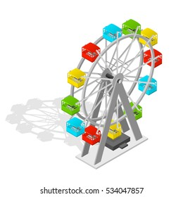 Big Wheel Isometric View. Vector