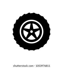 big wheel web icon vector. black isolated