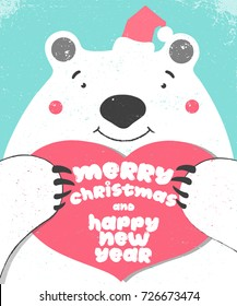 Big white bear with red heart  Merry Christmas and Happy New Year brush calligraphy