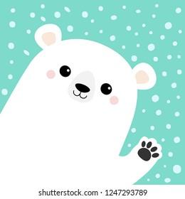 Big white polar bear waving hand paw print. Cute cartoon funny kawaii baby character. Merry Christmas Greeting Card. Flat design. Blue snow background. Greeting card. Vector