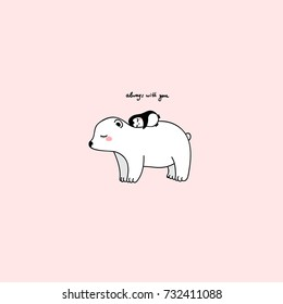 "big white pretty polar bear with little penguin,pink background,childish isolated beautiful girlish illustration for wallpapers,patches,wall art,poster, t-shirts, mugs. inscription: ""always with you"""