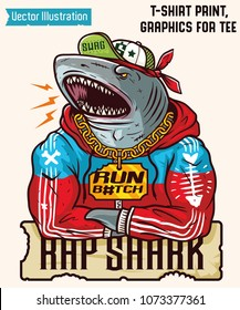 Big white shark - gangster rapper. Cool swag print - jaws shark. Sticker on cars. Awesome shark in sports suit. Isolated vector illustration for print on clothes, print for t-shirts, graphics for tee