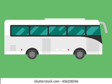Big white tour bus on light green background. Flat vector illustration
