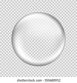 Big white transparent glass sphere with glares and highlights. White pearl. Vector illustration, contains transparencies, gradients and effects