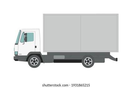 Big white truck on a white background - Vector illustration